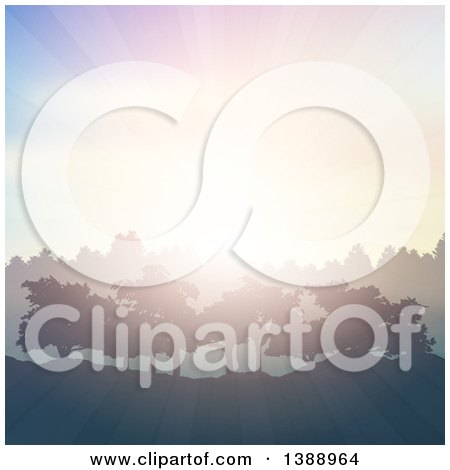 Clipart of a Morning Sunrise Silhouetting Trees and Hills - Royalty Free Vector Illustration by KJ Pargeter