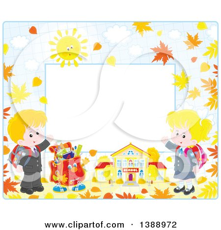 Clipart of a Horizontal Border Frame of Children Going Back to School in the Fall - Royalty Free Vector Illustration by Alex Bannykh