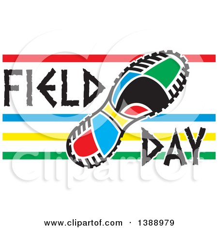 Clipart of a Colorful Sneaker Sole with Field Day Text and Stripes - Royalty Free Vector Illustration by Johnny Sajem