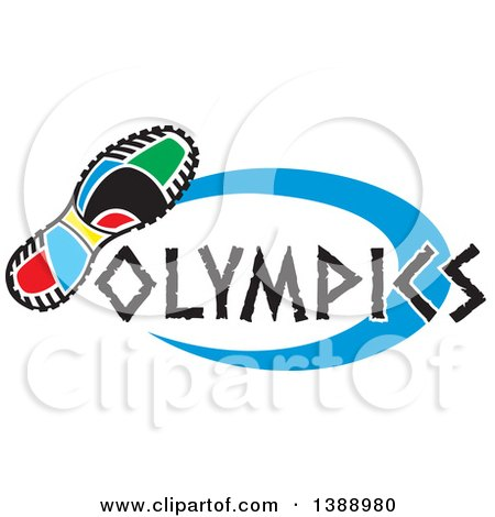 Clipart of a Colorful Sneaker Sole with Olympics Text and a Blue Oval - Royalty Free Vector Illustration by Johnny Sajem