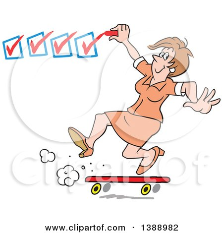 Clipart of a Happy White Business Woman on a Roll, Getting It Done and Checking off Her to Do List - Royalty Free Vector Illustration by Johnny Sajem
