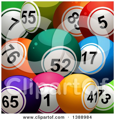 Clipart of a Background of 3d Colorful Bingo or Lottery Balls - Royalty Free Vector Illustration by elaineitalia