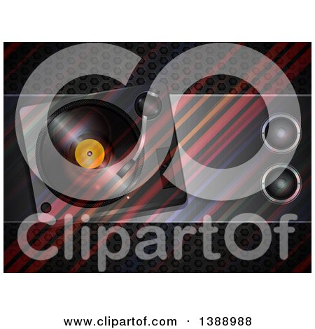 Clipart of a Transparent Vinyl Record Turn Table and Speakers over Diagonal Stripes and Metal - Royalty Free Vector Illustration by elaineitalia