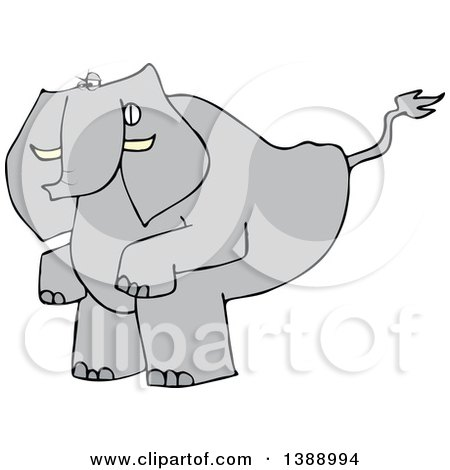 Clipart of a Cartoon Elephant Squatting to Poop - Royalty Free Vector Illustration by djart