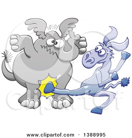 Clipart of a Cartoon Political Democratic Donkey Kicking a Republican Elephant in the Balls - Royalty Free Vector Illustration by Zooco