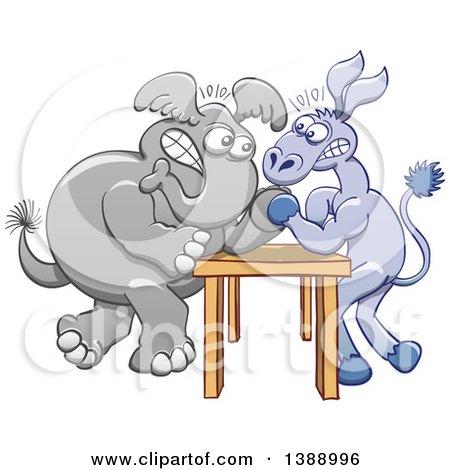 Cartoon Political Democratic Donkey and Republican Elephant Arm Wrestling Posters, Art Prints