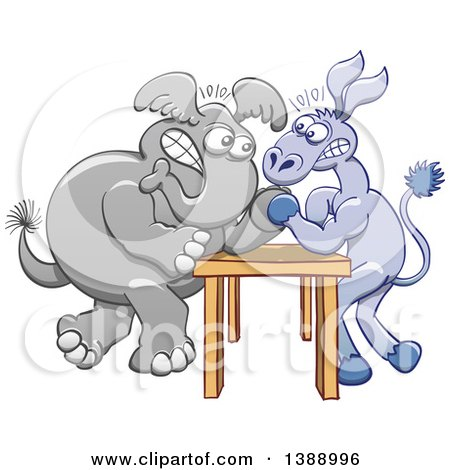 Clipart of a Cartoon Political Democratic Donkey and Republican Elephant Arm Wrestling - Royalty Free Vector Illustration by Zooco