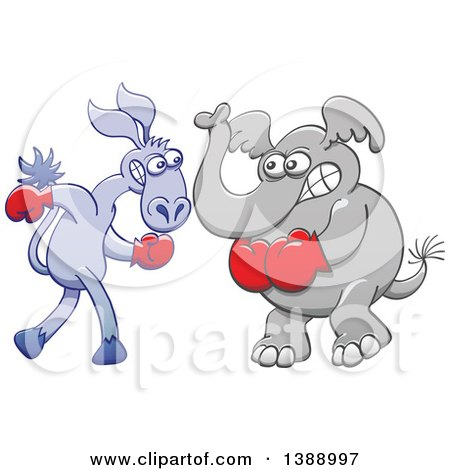 Clipart of a Cartoon Political Democratic Donkey and Republican Elephant Boxing - Royalty Free Vector Illustration by Zooco