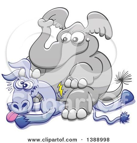 Cartoon Political Republican Elephant Sitting on a Democratic Donkey Posters, Art Prints