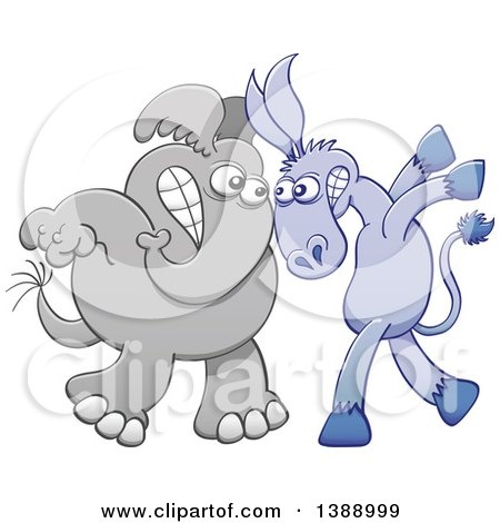 Clipart of a Cartoon Political Democratic Donkey Vs a Republican Elephant Face to Face - Royalty Free Vector Illustration by Zooco