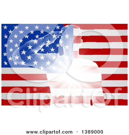 Clipart of a Silhouetted White Light Saluting Soldier over an American Flag with Rays - Royalty Free Vector Illustration by AtStockIllustration