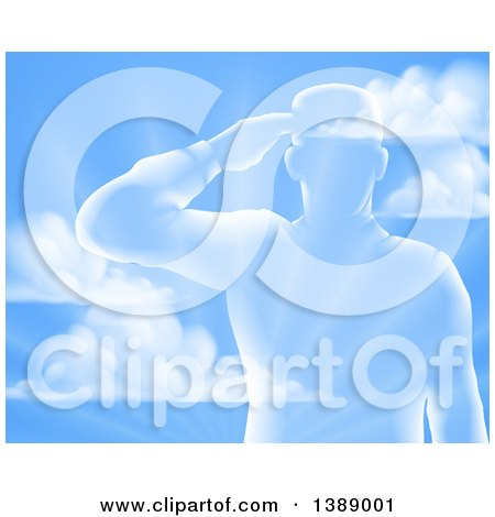 Clipart of a Silhouetted Saluting Soldier over a Blue Sky and Ray Background - Royalty Free Vector Illustration by AtStockIllustration