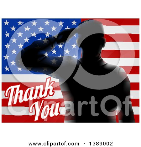 Clipart of Memorial Day Thank You Text with a Silhouetted Solder over an American Flag - Royalty Free Vector Illustration by AtStockIllustration