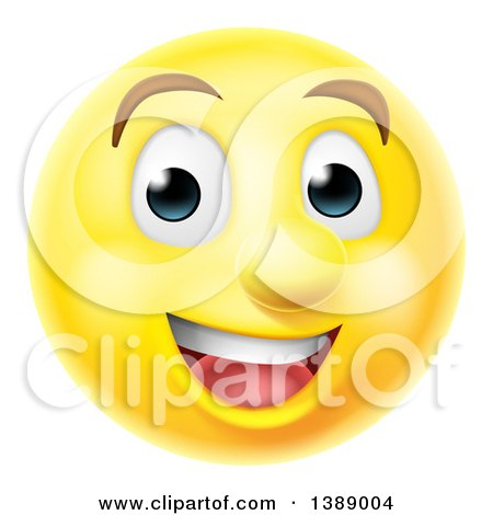 Clipart of a 3d Happy Yellow Male Smiley Emoji Emoticon Face - Royalty Free Vector Illustration by AtStockIllustration
