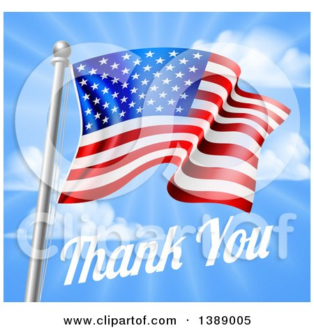 Clipart of a 3d American Flag and Thank You Text over a Blue Sky for Memorial or Veterans Day - Royalty Free Vector Illustration by AtStockIllustration