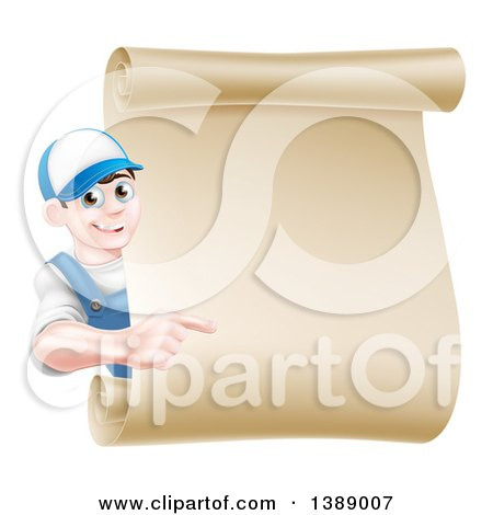 Happy Brunette Middle Aged Caucasian Mechanic Man in Blue, Pointing Around a Blank Scroll Sign Posters, Art Prints