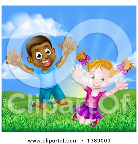 Clipart of a Happy and Excited Black Boy and White Girl Jumping Outdoors - Royalty Free Vector Illustration by AtStockIllustration