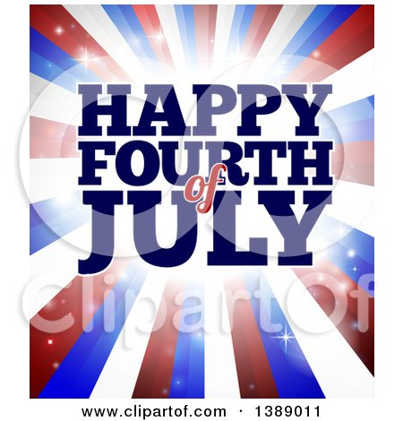 Clipart Of A Happy Fourth Of July Greeting Over Red White And Blue Bursting Stripes Royalty Free Vector Illustration
