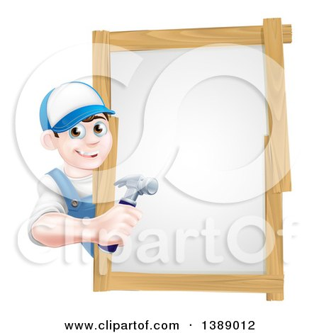 Happy Young Brunette Caucasian Worker Man Holding a Hammer Around a Sign Posters, Art Prints