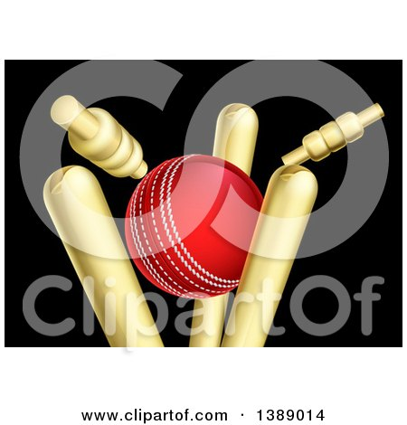 Clipart of a Cricket Ball Breaking Wicket Stumps on Black - Royalty Free Vector Illustration by AtStockIllustration