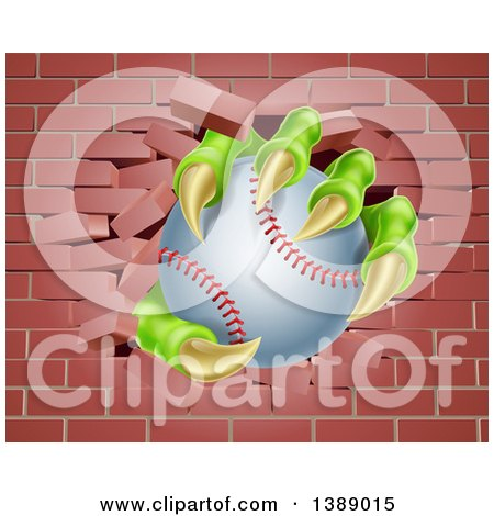 Clipart of Monster Claws Holding a Baseball and Breaking Through a Brick Wall - Royalty Free Vector Illustration by AtStockIllustration