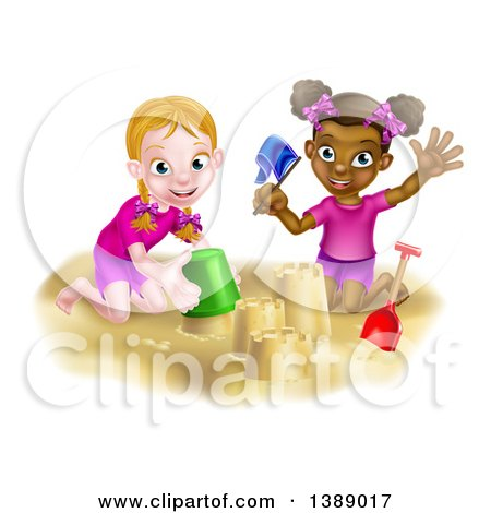 Clipart of Happy White and Black Girls Playing and Making Sand Castles on a Beach - Royalty Free Vector Illustration by AtStockIllustration
