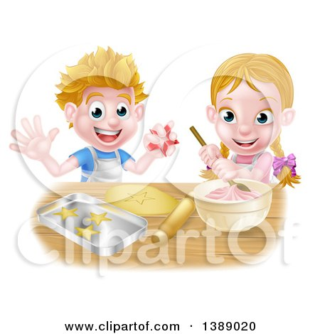 Clipart of a Cartoon Happy White Girl and Boy Making Pink Frosting and Star Shaped Cookies - Royalty Free Vector Illustration by AtStockIllustration