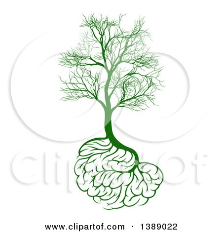 Clipart of a Green Tree with Brain Roots and Bare Branches, Symbolizing Memory Loss - Royalty Free Vector Illustration by AtStockIllustration