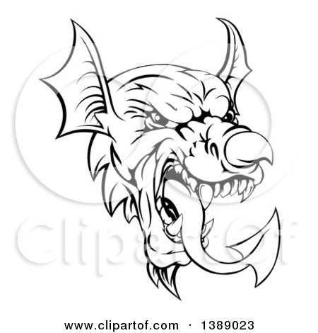 Clipart of a Black and White Welsh Dragon Mascot Head - Royalty Free Vector Illustration by AtStockIllustration