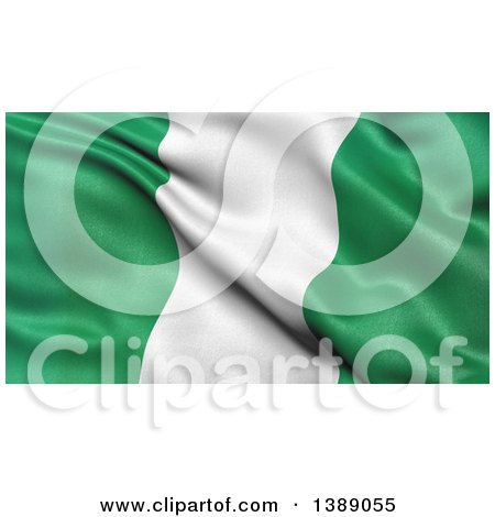 Clipart of a 3d Waving Flag of Nigeria - Royalty Free Illustration by stockillustrations