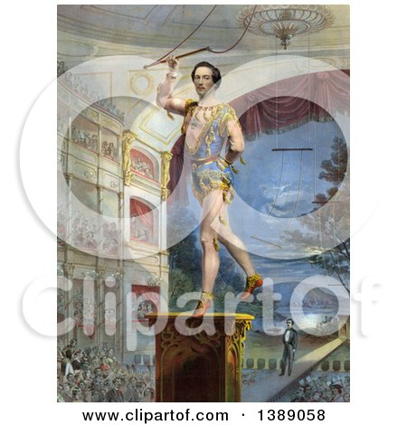 Vintage Illustration of a Circus Perfomer, William Hanlon Performing Zampillaerostation or the Flying Trapeze - Historical Graphic by JVPD