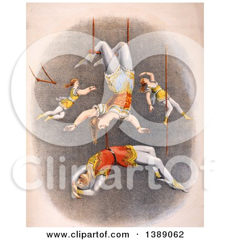 Vintage Illustration of Male and Female Trapeze Artists Performing at a Circus, C 1875 - Historical Graphic by JVPD