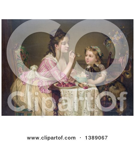 Historical Illustration of a Caucasian Mother Feeding Her Daughter Breakfast As She Holds a Dog in Her Lap, C 1873 - Chromolithograph by JVPD