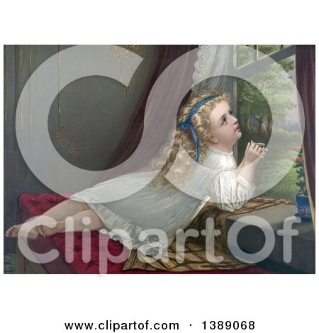 Historical Illustration of a Blond Haired, Blue Eyed Caucasian Girl Lying on a Window Seat, Looking out an Open Window and Listening to the Birds, C 1873 - Chromolithograph by JVPD