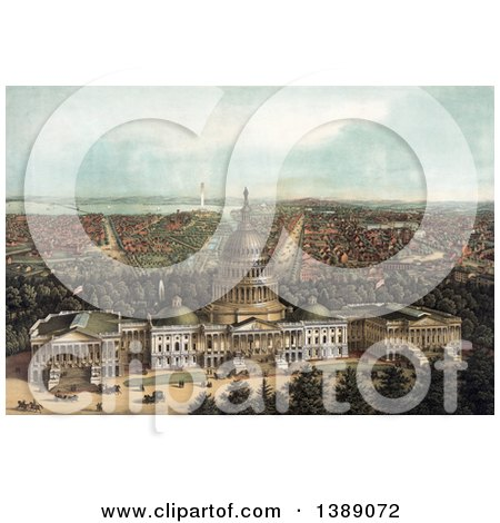 Historical Illustration of a View of Washington DC, with the Capitol Building, Botanic Garden and Smithsonian, C1871 - Chromolithograph by JVPD