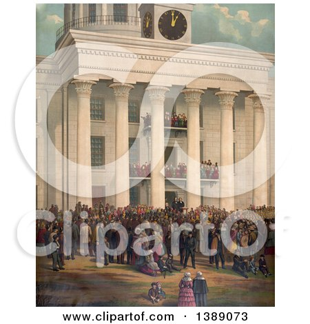 Historical Illustration of a Crowd in Front of the Capitol Building at Montgomery, Alabama, at the Time of the Announcement of Jefferson Davis As the First President of the Confederate States of America - Chromolithograph by JVPD