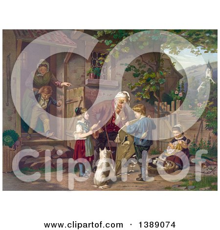 Historical Illustration of a Grandfather Tending a Broken Kite, with Children, a Dog, Woman and Cats in the Yard - Chromolithograph by JVPD