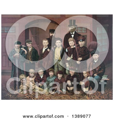 Historical Illustration of D.L. Moody and J.V. Farwell Standing Behind a Group of 14 Boys on a Street in Front of a Building - Chromolithograph by JVPD