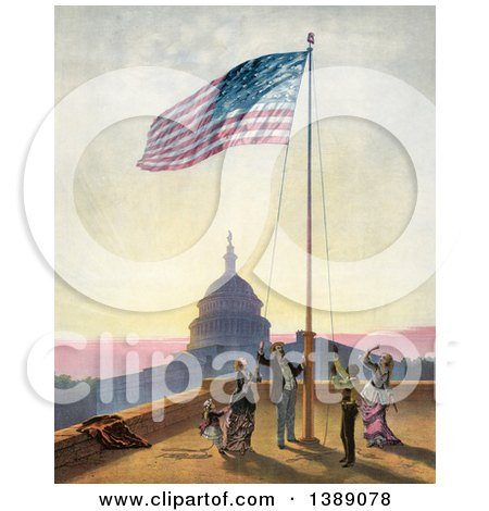 Historical Illustration of a Group of People Raising American Flag, Against the U.S. Capitol, C1876 - Chromolithograph by JVPD