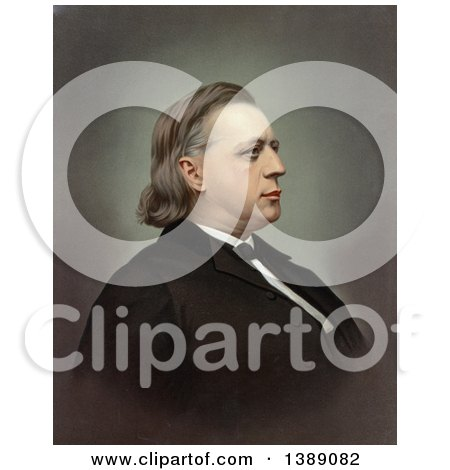 Historical Illustration of a Profile Portrait of Abolitionist and Clergyman, Henry Ward Beecher, C1871 - Chromolithograph by JVPD