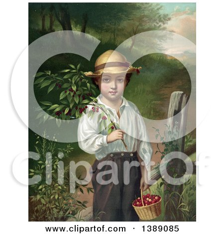 Historical Illustration of a Caucasian Farmer Boy Holding a Branch and Basket of Cherries, C1871 - Chromolithograph by JVPD
