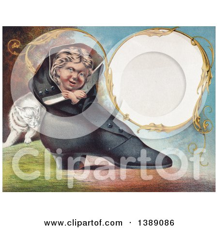 Historical Illustration of a Caucasian Boy Peeking out of a Womans Boot, with a Cat Sheaking Around the Back and a Blank Frame - Chromolithograph by JVPD