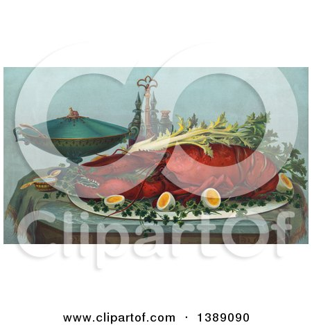 Historical Illustration of a Cooked Lobster Served on a Platter with Celery, Hardboiled Eggs and Other Containers on a Table, C1877 - Chromolithograph by JVPD