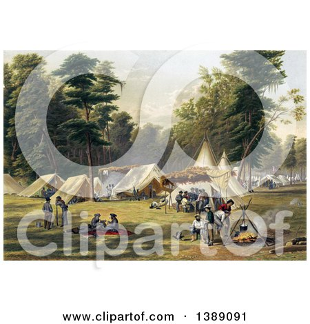 Historical Illustration of a Confederate Camp During the American Civil War, C1871 - Chromolithograph by JVPD