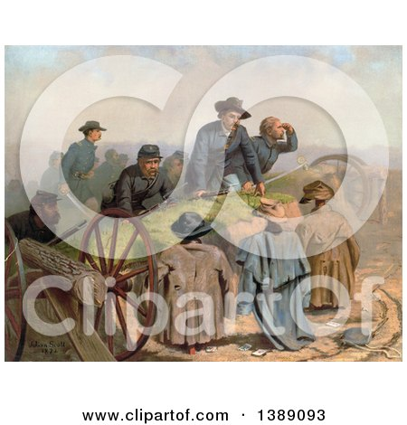 Historical Illustration of a Group of Union Soldiers Discovering Find Dummy Defenders After Storming Confederate Defenses, C1873 - Chromolithograph by JVPD