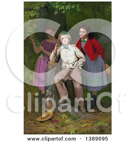 Historical Illustration of a Boy Leaning on a Tree Stump, Pondering His Future Happiness with Either of Two Young Girls Standing Behind Him. C1871 - Chromolithograph by JVPD