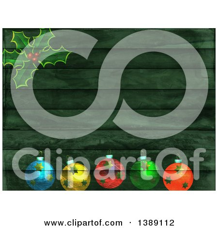 Clipart of a Christmas Background of Green Wood Panels, Holly and Baubles - Royalty Free Illustration by Prawny