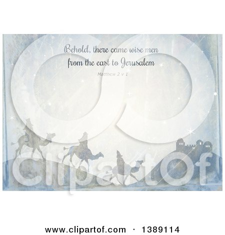 Clipart of a Distressed Christmas Background of Behold There Came Wise Men from the East to Jerusalem Matthew 2 V 1 and the Three Kings - Royalty Free Illustration by Prawny
