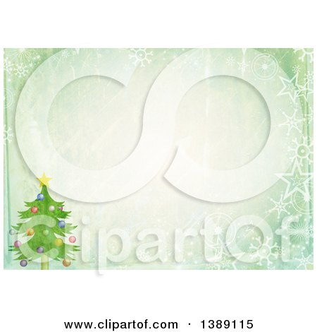 Clipart of a Distressed Christmas Background of a Christmas Tree, Stars, Snowflakes and Text Space - Royalty Free Illustration by Prawny