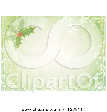 Clipart of a Distressed Christmas Background of Holly and Snowflakes Framing Text Space - Royalty Free Illustration by Prawny